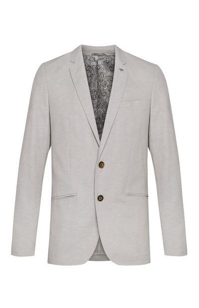 Veste de costume grise grège en lin