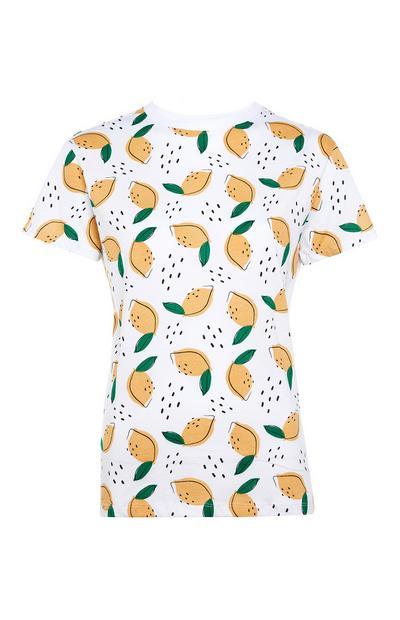 T-shirt blanc à imprimé citrons