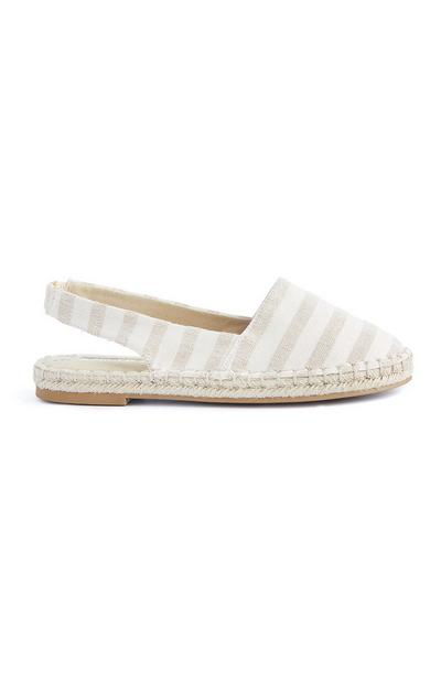 White Striped Sling Back Espadrille