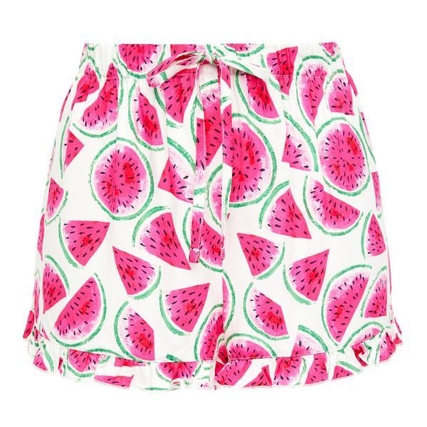 Pink Watermelon Print Viscose Pajama Pants