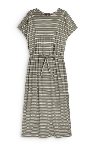 Khakifarbenes Jerseykleid mit Streifen und Kordelzug in der Taille