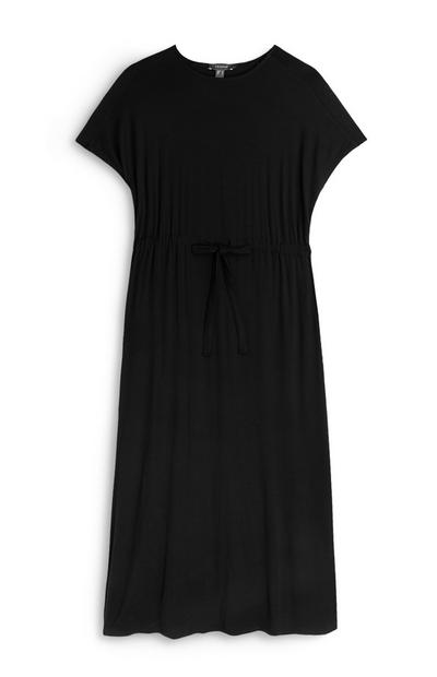 Black Drawstring Waist Jersey Dress