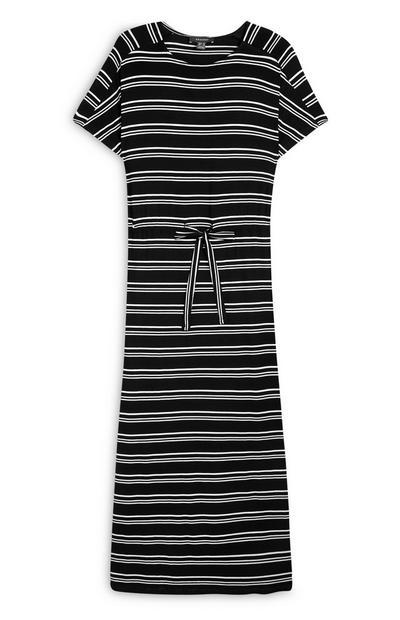 Schwarz-weiß gestreiftes Jersey-Maxikleid