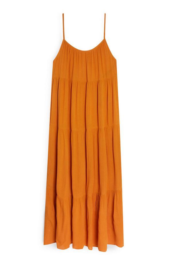 Dolga obleka z ozkimi naramnicami v gorčični barvi