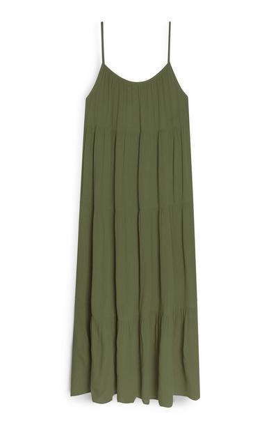 Vestido largo de tirantes verde