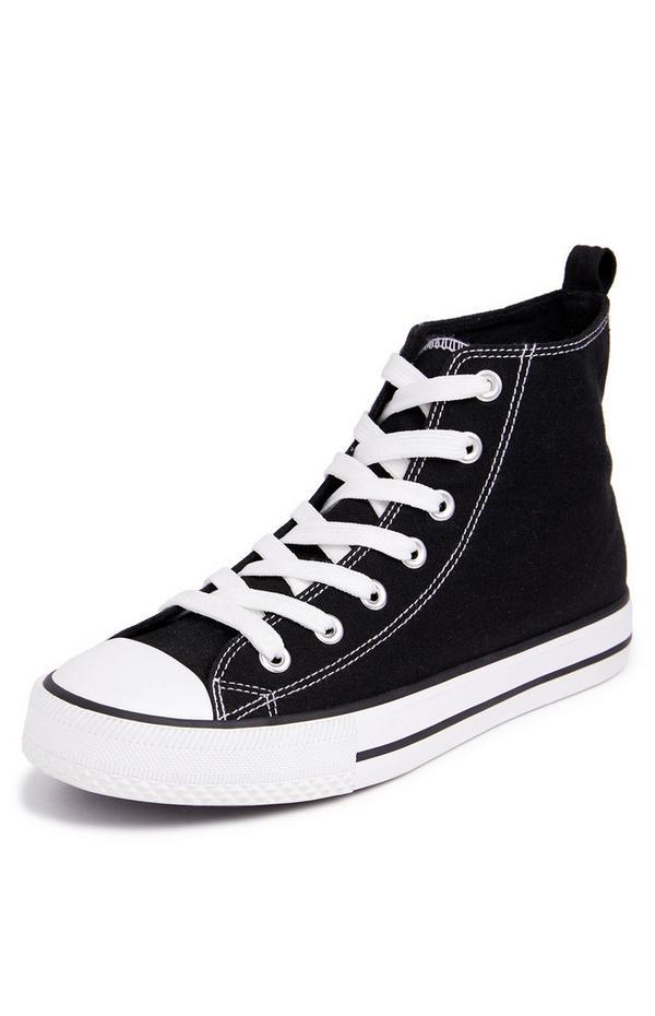 Klassische Canvas-High-Top-Sneaker in Schwarz