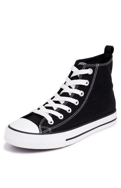 Black Classic Canvas High Top Trainers