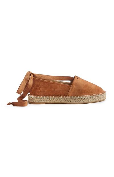 Brown Ankle Tie Espadrille