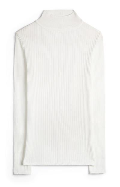 White Ribbed Turtle Neck T-Shirt
