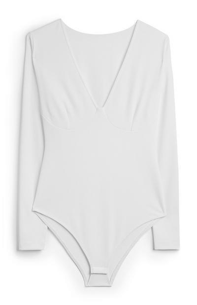 White V Neck Body Suit