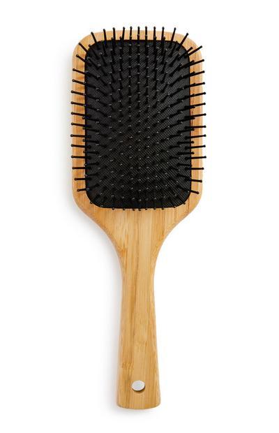 Spazzola per capelli marrone in bambù