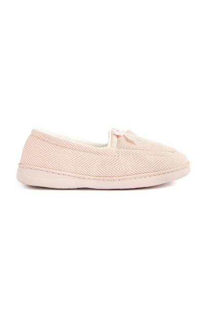 Chaussons roses en jersey style mocassins