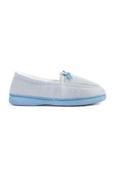 Blue Knit Loafer Slippers