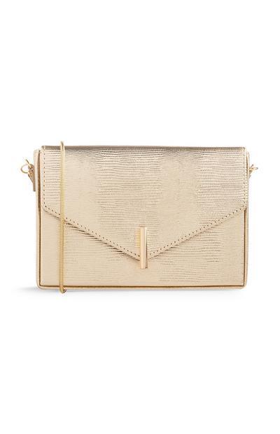 Petit sac carré doré à bandoulière
