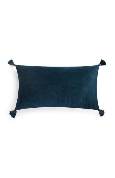 Blue Velvet Tassel Rectangle Cushion