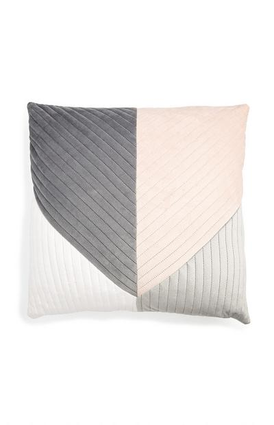 Coussin rose et gris en velours color block