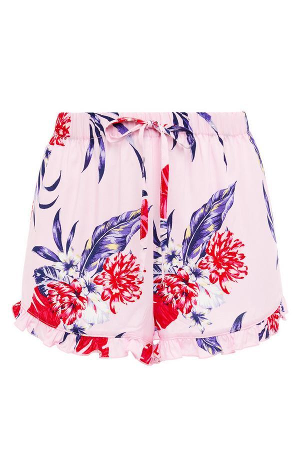 Pink Floral Print Viscose Pajama Shorts