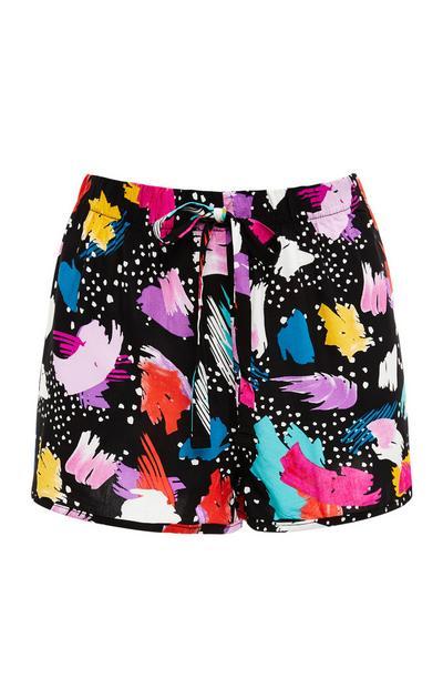 Black Abstract Print Viscose Pajama Shorts