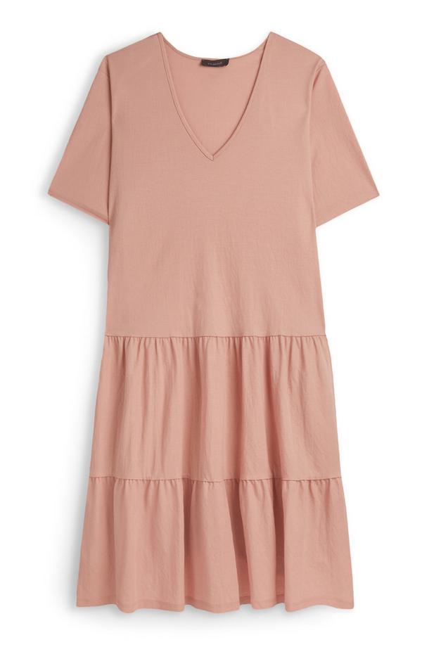 Blush Tiered V Neck Jersey Dress