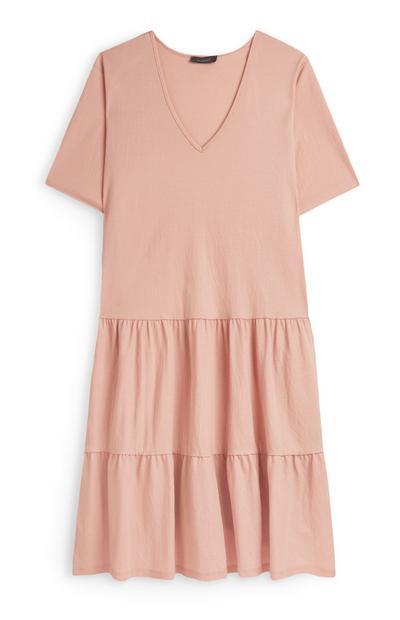 Roze mini-jurk met plooien en V-hals