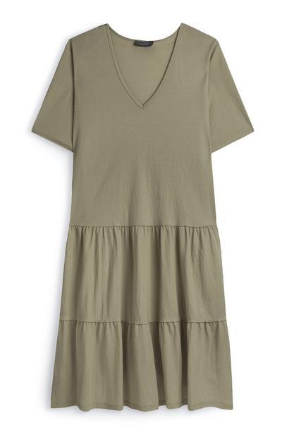 Olive Tiered V-Neck Jersey Dress