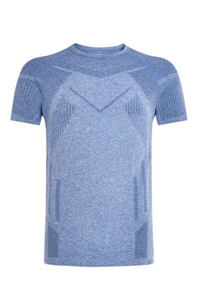 Hellblaues, nahtloses T-Shirt mit geometrischem Muster