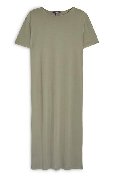 Khaki Jersey Midi T-Shirt Dress