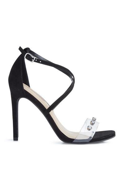 Črne sandale z visoko peto in prozornim paščkom z diamanti