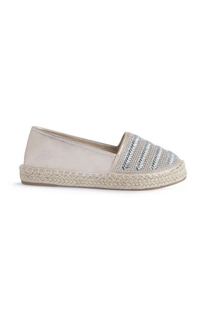 Rhinestone Striped Metallic Espadrilles