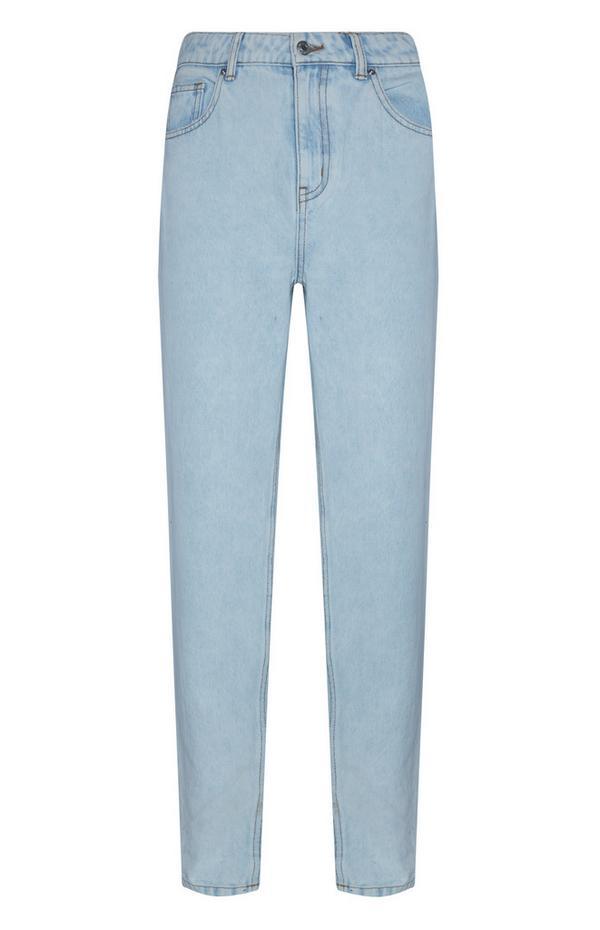 Lichtblauwe slimfit jeans met hoge taille