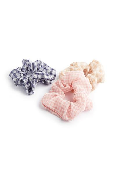 Large Gingham Scrunchies 3Pk