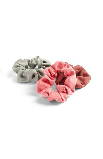 3-Pack Pink and Gray Scrunchies