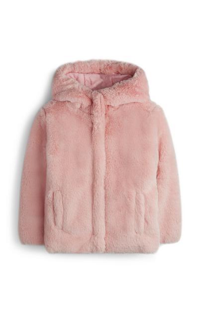 Abrigo de pelo rosa con capucha para niña pequeña