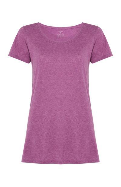 Paars T-shirt met ronde hals