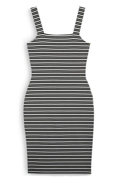 Black And White Ponte Midi Dress
