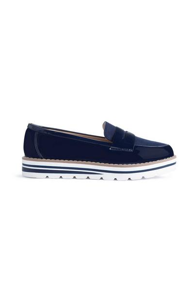 Navy Chunky Sole Loafers