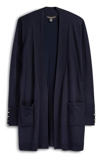 Ohlapna temno modra jopica z žepi
