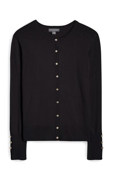 Black Crew Neck Button Up Cardigan