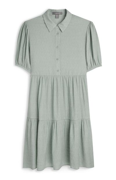 Mint Puff Sleve Tiered Shirt Dress