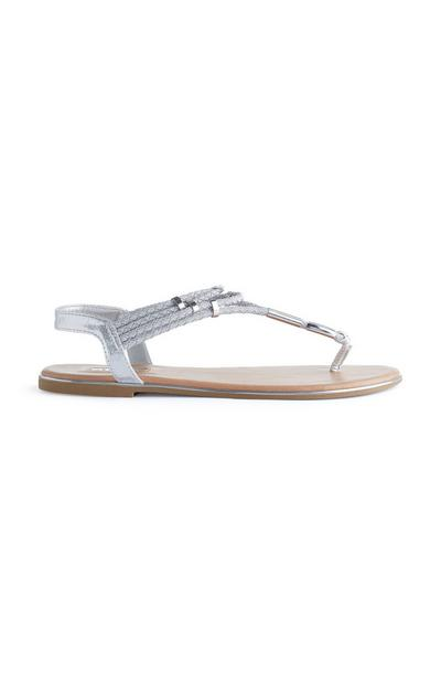 Silver Plaited Strappy Sandals