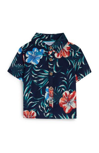 Baby Boy Navy Floral Shirt