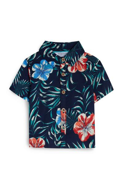 Baby Boy Navy Floral Shirt