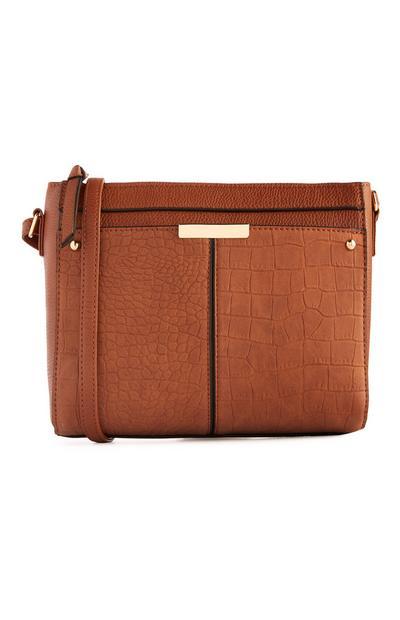 Brown Croc Front pocket Crossbody Bag