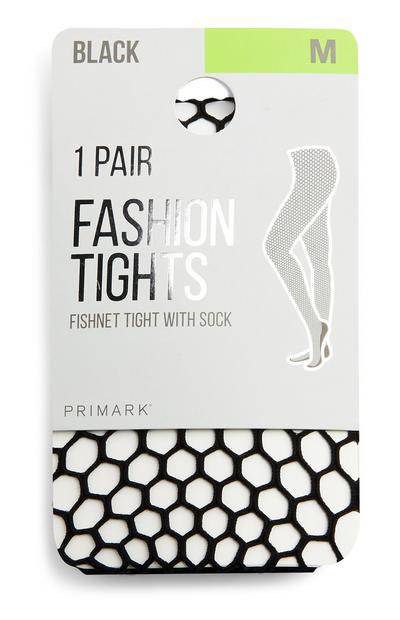 Black Honeycomb Net Tights With Socks