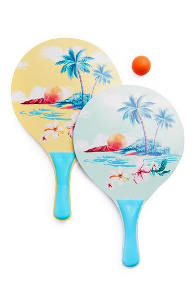 Yellow Beach Print Ping Pong Set 3Pc