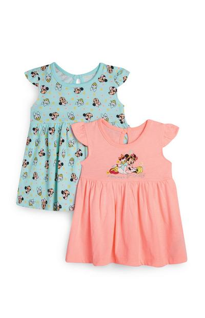 Baby Girl Peach And Blue Minnie And Daisy T-Shirt