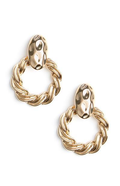 Gold Twist Knocker Earrings