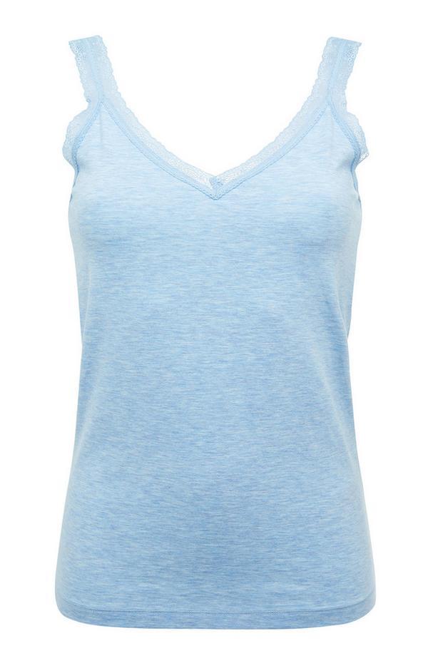 Blue Stretch V-Neck Pajama Tank