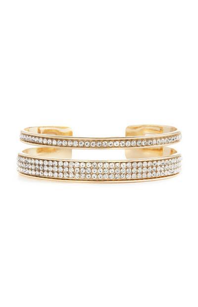 Gold Diamante Cuff Braclet