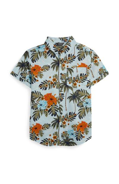 Older Boy Blue Palm Print Shirt